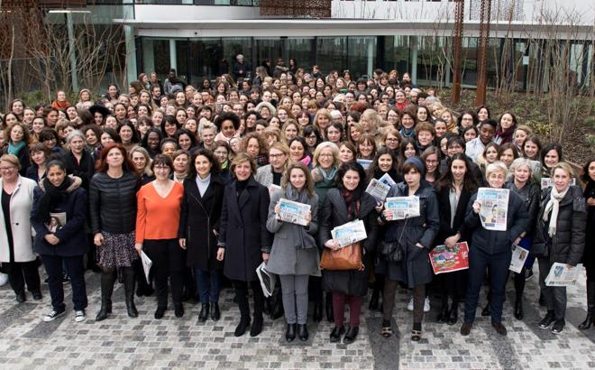 Les journalistes femmes du Parisien et des Echos le 8 mars 2018.