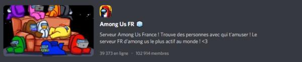 Screenshot d'un serveur Discord Among Us français