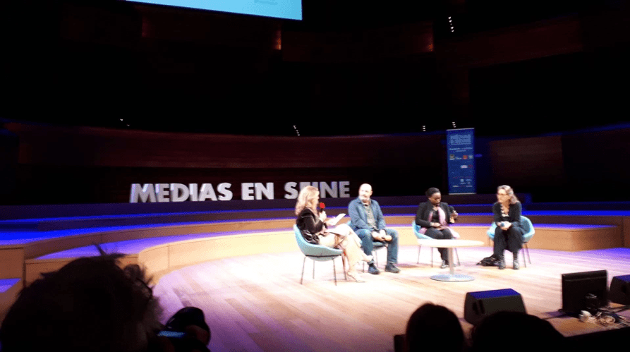 Cédric Klapisch, Fatou Dioume et Marie Darrieussecq réunis dans l'auditorium de Radio France.